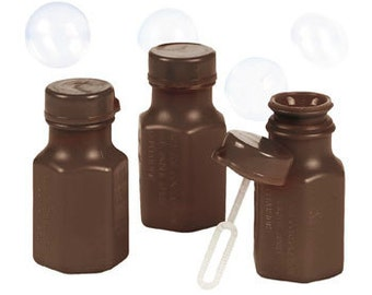 48 Mini Brown Hexagon Wedding Party Bubbles Great for Autumn Fall Party Anniversary Send Off