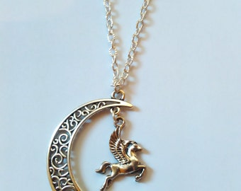moon pegasus flyer horse necklace