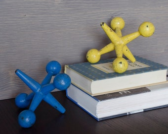 MId-Century Modern Jacks, Jax/ Set of 2 / Blue & Yellow / Bill Curry / bookends, doorstop, paper weight, room accent