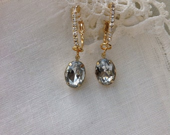 Clear Rhinestone Earrings, Gold Plated with Rhinestones, 1 3/8 in, 2.6 cm