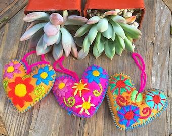 Set of Two Felt Heart Ornaments Fair Trade (Mexico)