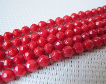 4mm Red Coral Faceted Round Bead S93