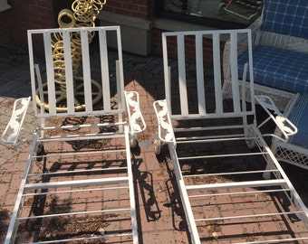 Vintage Pair Iron Chaise Lounge Chairs