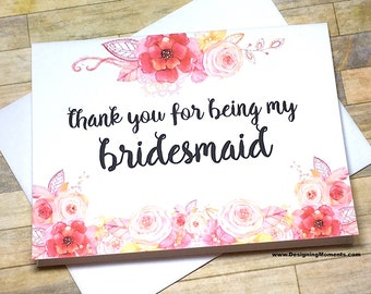 Bridesmaid Thank You Card - Card for Bridesmaid  - Thank You For Being My Bridesmaid - Bridal -  Wedding - Maid of Honor Card - SWEPT AWAY