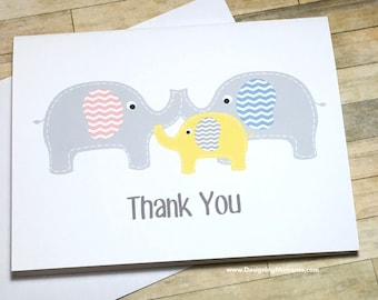 baby thank you card set gender neutral elephant baby shower thank you cards elephant