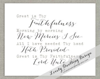 Great Is Thy Faithfulness // Graphic Art Print // 8x10