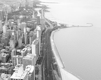 Chicago Lake Shore Drive photo print, black and white art, city photography, large canvas picture, wall decor 8x10 11x14 12x12 16x20 20x30