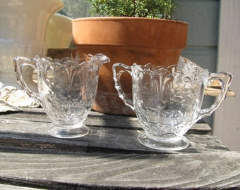 Vintage Indiana Glass Co Wheel Cut Footed Sugar and Creamer with Fleur De Lis Pattern
