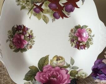Vintage Floral Serving Platter