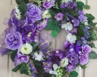 Lilac Wreath, Summer Wreath, Door Wreath, Wall Wreath, Everyday Wreath
