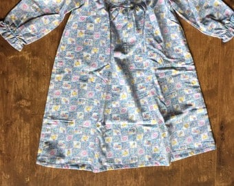 Girls Size 2 Flannel Nightgown - Patchwork with ducks rattles hearts etc.