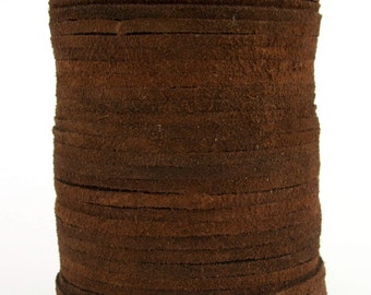 Brown Dark Suede Leather Cord 3mm 10 Feet