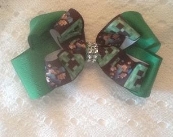 Handmade Green Mine Craft Hair Bow