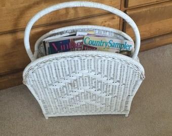Vintage Wicker Magazine Rack, White Wicker Basket, Mid Century, Shabby Chic, Newspaper Rack, Painted, Large, Sturdy, Retro Holder,