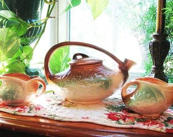 Vintage McCoy Daisy Teapot, Sugar and Creamer, McCoy tea set