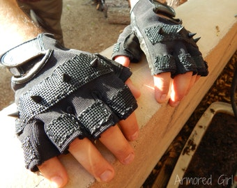 Made to Order Post apocalyptic Fingerless gloves, wasteland weekend, biker, motorcycle, goth, punk, rock, metal, festival, larp, cosplay