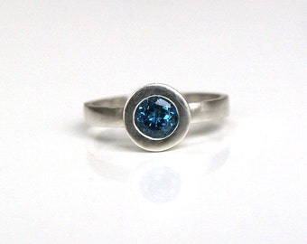 Blue topaz  ring,  dark blue topaz silver ring