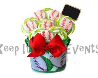 Baseball Lollipop Centerpiece, Baseball Candy Arrangement, Candy Centerpiece, Lollipop Centerpiece, Baseball, Birthday, Sports Party, Candy