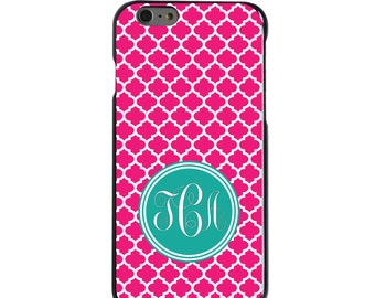Hard Snap-On Case for Apple 5 5S SE 6 6S 7 Plus - CUSTOM Monogram - Any Colors - Pink White Teal Moroccan Lattice