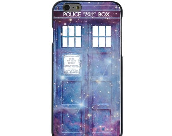 Hard Snap-On Case for Apple 5 5S SE 6 6S 7 Plus - CUSTOM Monogram - Any Colors - Fading TARDIS Outer Space Stars