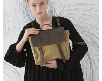 ON SALE 15% Canvas satchel, Canvas backpack, Messenger bag women, Mens satchel, Messenger leather bag, Canvas leather bag, Crossbody bag Can