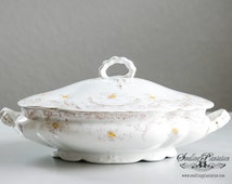 Vintage Covered Serving Bowl-Lidded Bowl, White, Gold, Vegetable Dish, Casserole, English, French Country,Porcelain, Ironstone