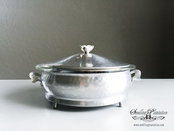 Vintage Silver Hammered Aluminum Covered Serving Bowl-French Country English Farmhouse Rodney Kent