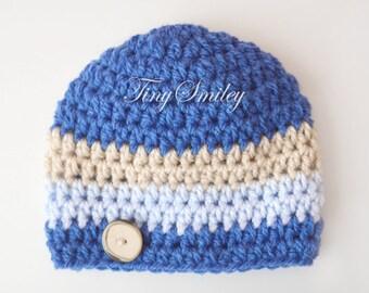 Newborn Baby Hat, Striped Boy Hat, Baby Boy Hat, Blue Baby Hat, Blue Newborn Hat, Blue and Beige Hat, Baby Shower Gift, Stripes, Crochet Hat