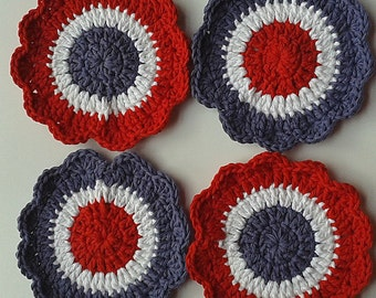 Flower Scubbies-Red/White/Blue-Set of 4-FREE SHIPPING
