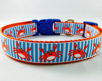 Crab, Nautical, Beach, Dog Collar