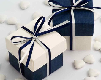 Navy Blue and White Wedding Favour Boxes | DIY | Two Tone Boxes | Satin Ribbon | Navy Wedding Favours | Favour Box | Party Box
