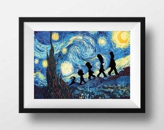 Starry Night print, Simpsons art print