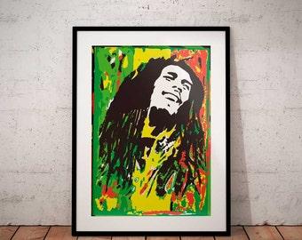 Bob Marley print, Bob Marley poster, Bob Marley stencil, Bob marley art music wall art decor poster,