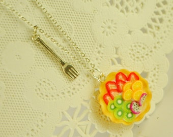 fruit  tart necklace - food jewelry