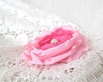 Pink Floral Hair Clip Upcycled Fabric Barrette Recycled Reclaimed Accessory Boho Fashion