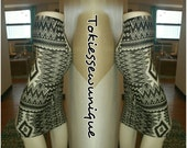 Black and white Aztec print fabric pencil skirt