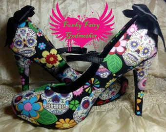 Mexi-Cans- customised shoes, retro shoes, retro heels, rockabilly shoes, quirky shoes, quirky heels, vintage heels, vintage shoes,