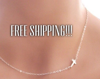 Cross Necklace Dainty Small SIDEWAYS CROSS Side or Centered 2 in 1 wear FREE shipping Mother's Day gift