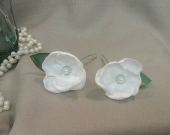 Handmade Satin Flower Hairpins, Hair Clips or Shoe Clips