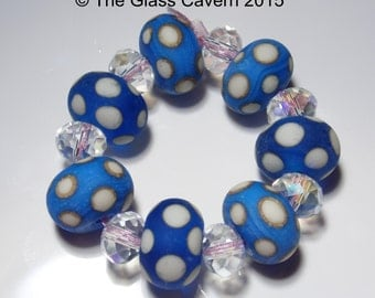 Handmade Lampwork blue and ivory etched bead set