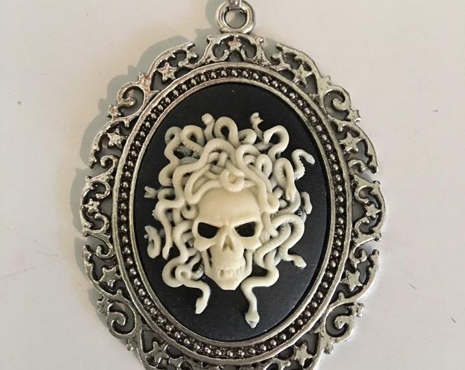 Skull snake cameo necklace-Madusa cabachon-Gothic-Halloween Jewelry-Silver Chain