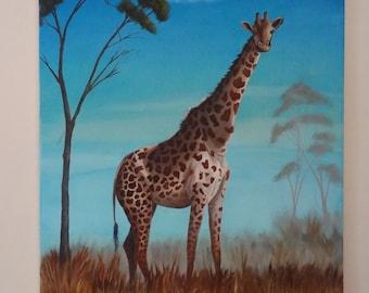 Hungry Giraffe - Original Oil Painting