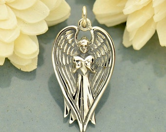 Sterling Silver Angel Pendant Holding Heart