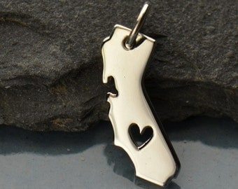 Sterling Silver California State with Heart Charm