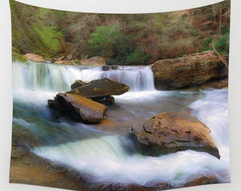 Waterfalls Tapestry, Water Tapestry, Falls Tapestry, Waterfall wall art, Nature Tapestry, Wilderness Tapestry, Landscape Tapestry, waterfall