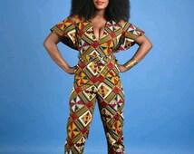 Rita Cape Jumpsuit- African print clothing