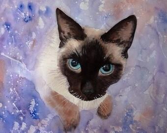 Custom Cat Portrait Animal Portrait Custom Pet Portrait Cat Painting Watercolor Cat Cat Art Cat Lover Gift Watercolor Original
