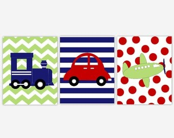 Baby Boy Nursery Wall Art Navy Blue Red Green Plane Train Car Vehicles Boys Room Decor Transportation Baby Boy 3 Print Set CUSTOMIZE COLORS