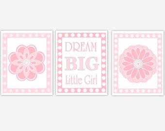 Baby Girl Nursery Wall Art Pink Gray Dream Big Little Girl Quote Flowers Baby Nursery Decor Girls Room Decor Baby Girl Nursery Decor Prints