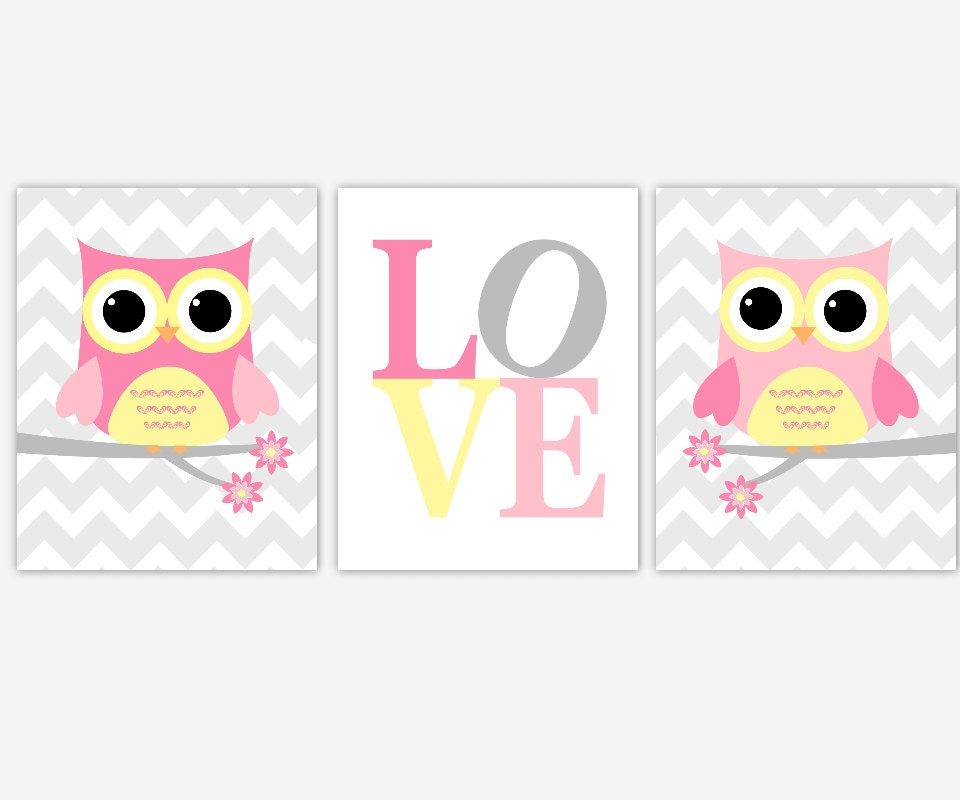 Baby girl nursery art pink yellow owls baby nursery decor for Baby girl nursery paintings